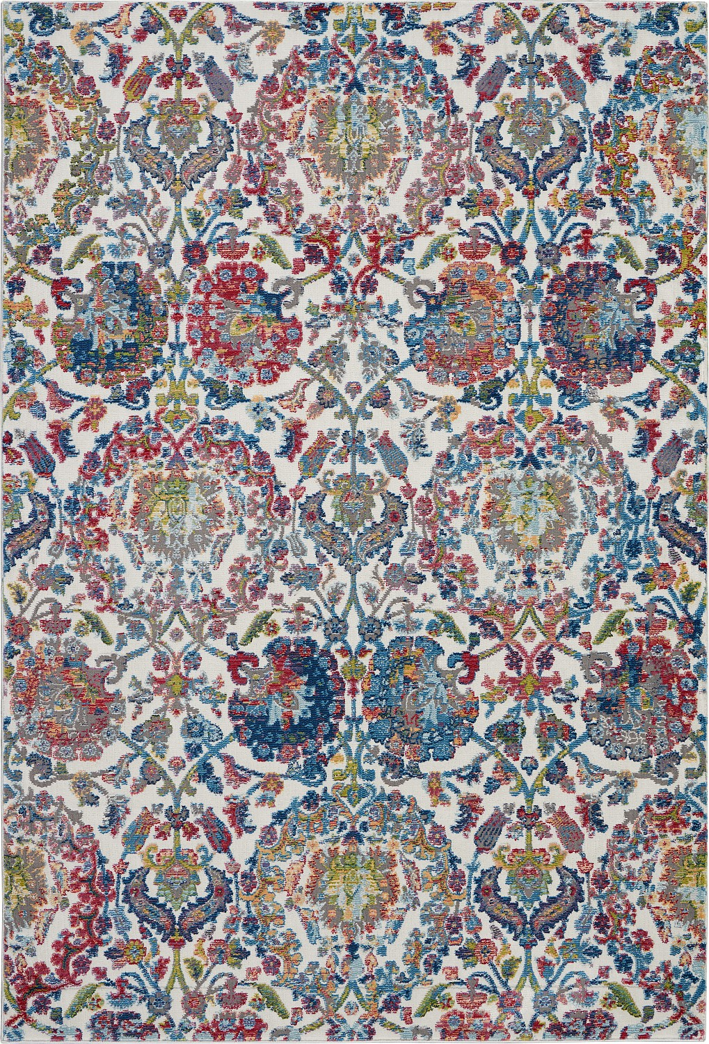 Global Vintage GLB06 Ivory/Blue Area Rug Colorful Vintage Da