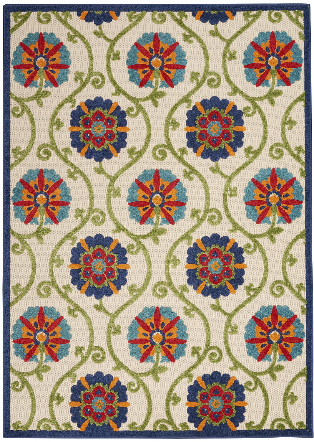 Nourison Aloha ALH19 Beige/Green/Blue Floral Indoor/Outdoor