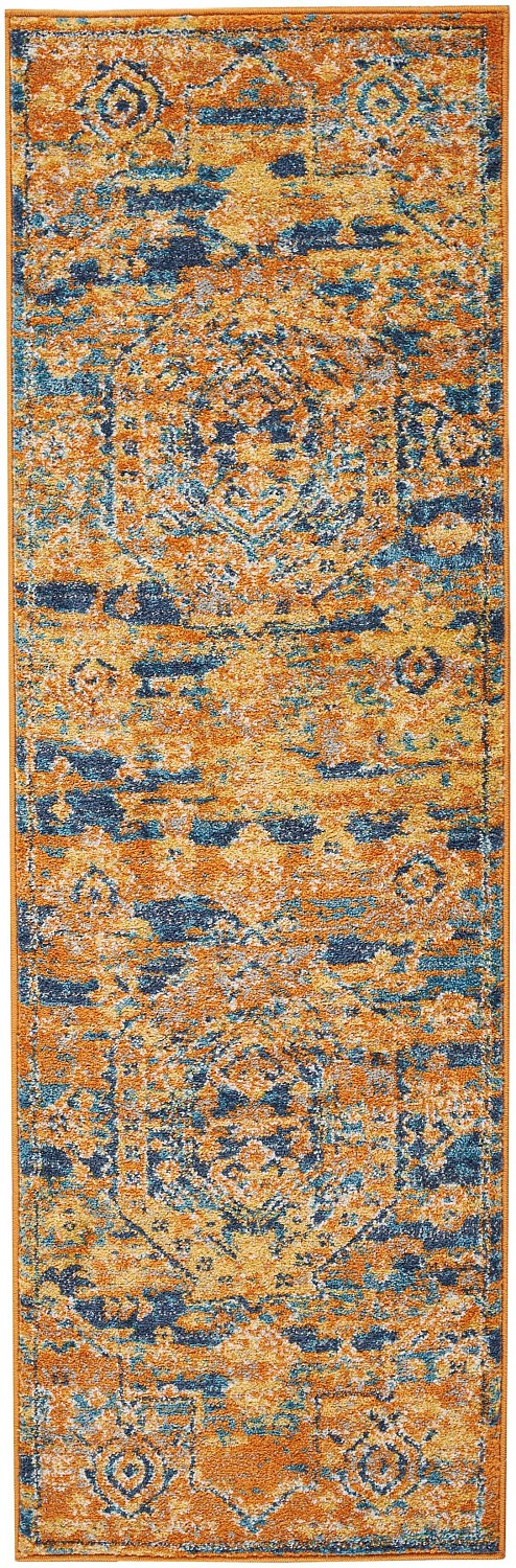 Passion PSN07 Teal/Sun Area Rug Vintage Oriental Bordered By