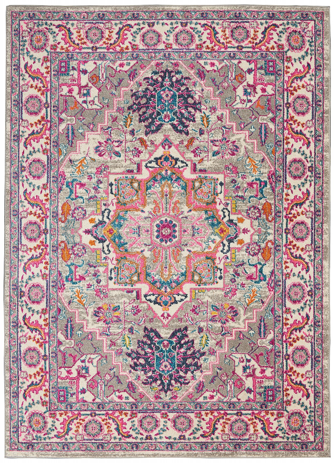 Passion Light Grey/Pink Area Rug Colorful Oriental Center Me