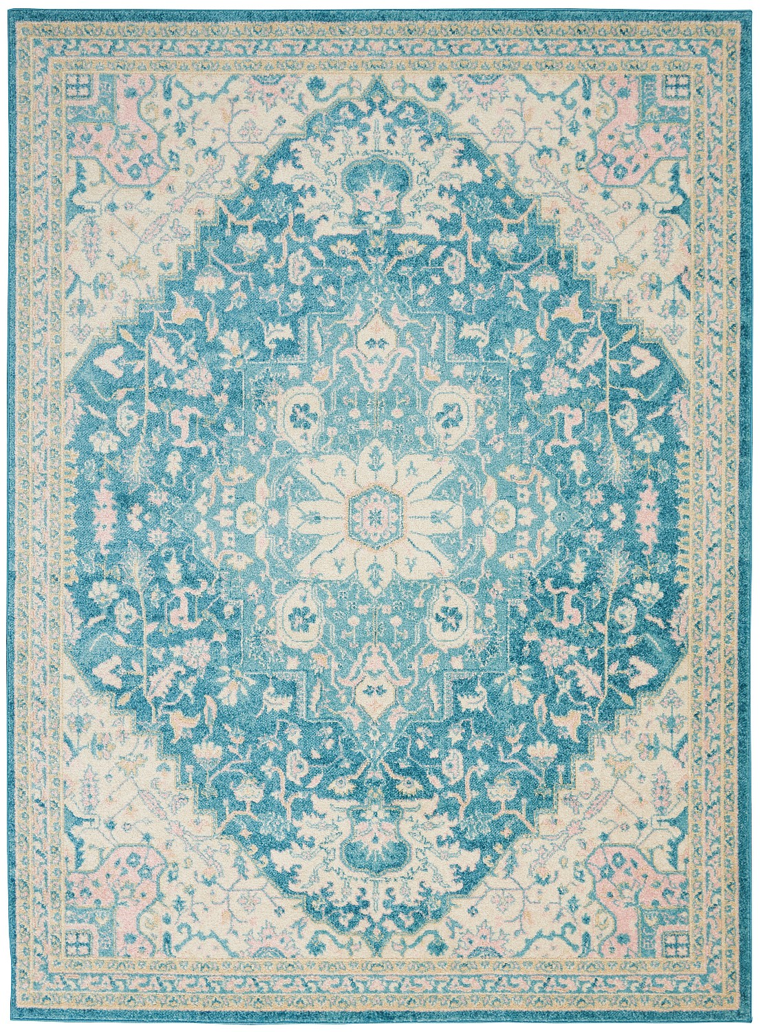 Nourison Tranquil TRA07 Ivory/Turquoise Indoor Area Rug