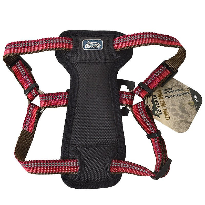 K9 Explorer Reflective Adjustable Padded Dog Harness - Berry Red