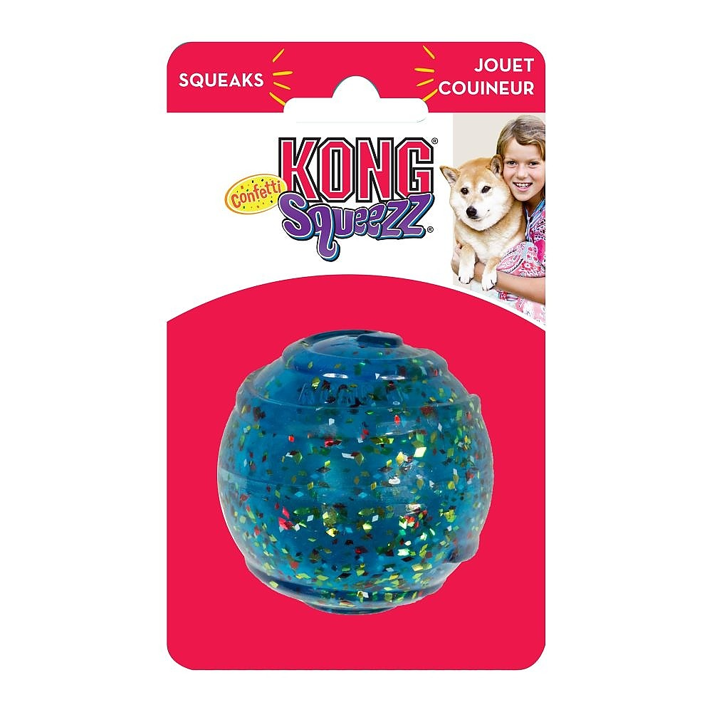 KONG Squeezz Confetti Squeaker Ball for Dogs in Assorted Colours