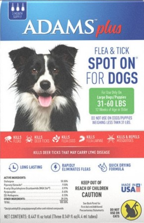 Adams Plus Flea and Tick Spot On for Large Dogs 31-60 lbs alternate img #1
