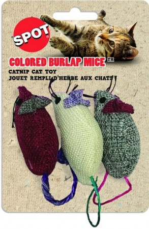 Spot Colored Burlap Mice alternate img #1