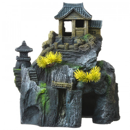 Blue Ribbon Exotic Environments Asian Cottage House with Bonsai Ornament alternate img #1