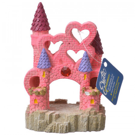 Blue Ribbon Exotic Environments Heart Castle Ornament - Pink alternate img #1