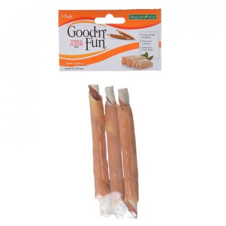 Healthy Hide Good'n' Fun Triple Flavor Ribs - Rawhide, Chicken & Pork Hide alternate img #1