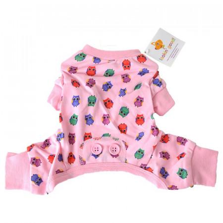Fashion Pet Lookin Good Owl Print Dog Pajamas - Pink alternate img #1