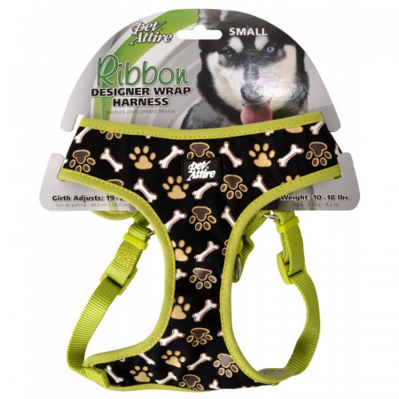 Coastal Pet Attire Ribbon Designer Wrap Adjustable Dog Harness - Brown Paw & Bones alternate img #1