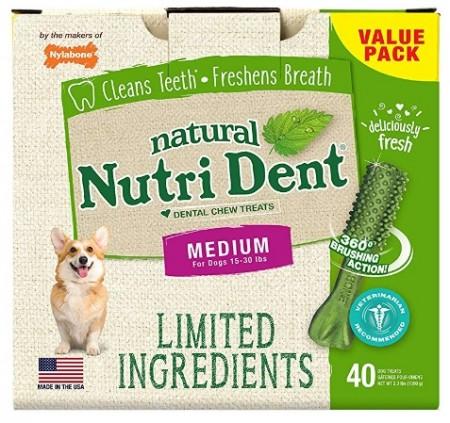 Nylabone Natural Nutri Dent Fresh Breath Limited Ingredients Medium Dog Chews alternate img #1