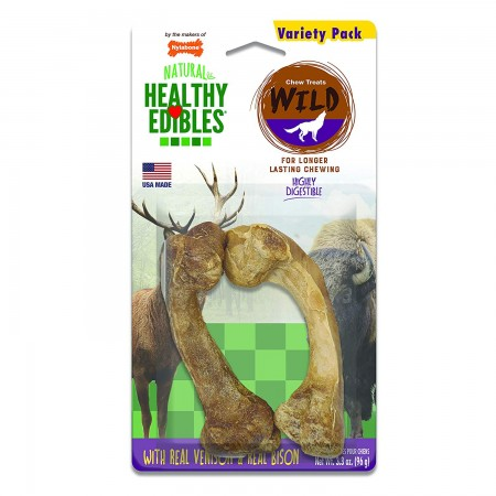 Nylabone Healthy Edibles Wild Chews with Real Venison & Bison - Medium alternate img #1