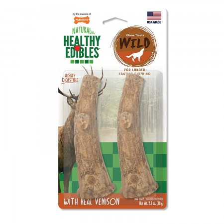 Nylabone Healthy Edibles Wild Antler Chews with Real Venison alternate img #1