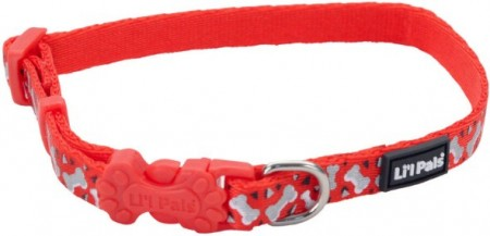 Li'L Pals Reflective Collar - Red with Bones alternate img #1