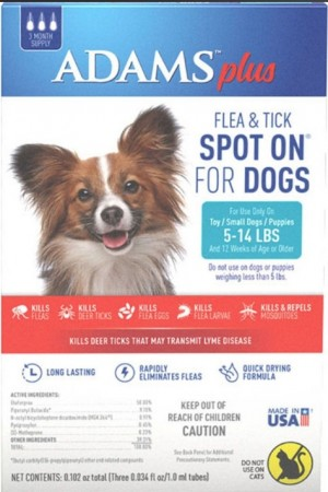 Adams Plus Flea and Tick Spot On for Small Dogs 5-14 lbs alternate img #1