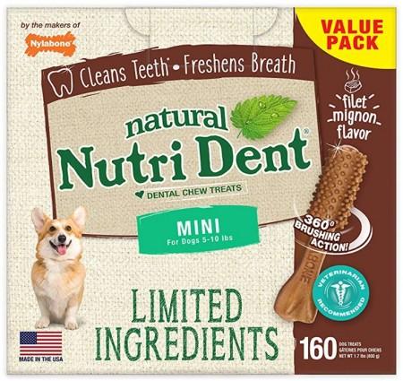 Nylabone Nutri Dent Natural Filet Mignon Dental Chew Treats Mini alternate img #1