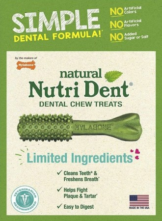 Nylabone Natural Nutri Dent Fresh Breath Limited Ingredients Simple Formula Medium Dog Chews alternate img #1