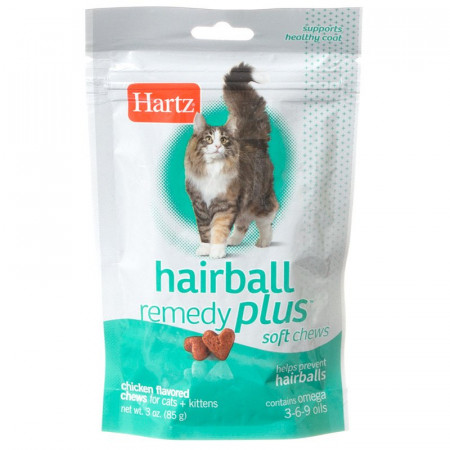 Hartz Hairball Remedy Plus Soft Chews for Cats & Kittens - Savory Chicken Flavor alternate img #1
