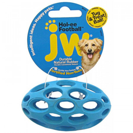 JW Pet Hol-ee Football Rubber Dog Toy - Assorted Colors alternate img #1