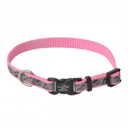 Coastal Pet Lazer Brite Reflective Adjustable Dog Collar - Pink Hearts alternate img #1