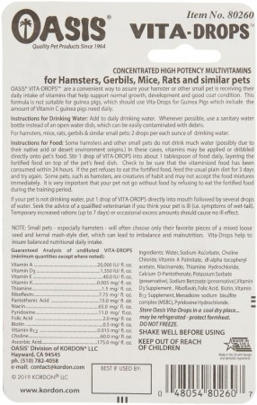 Oasis Vita-Drops High Potency Hamster Daily Multivitamins alternate img #2