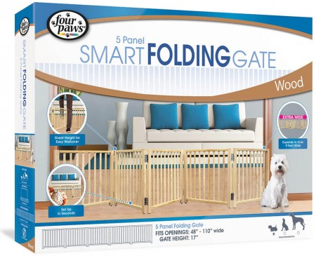 Four Paws 5 Panel Smart Folding Gate Wood alternate img #1
