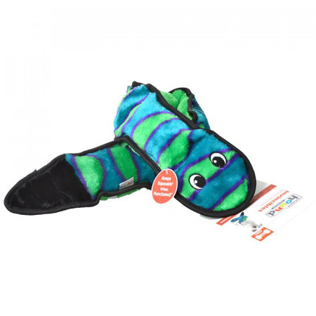 Outward Hound Invincibles Snake Squeaker Toy - Green & Blue alternate img #1