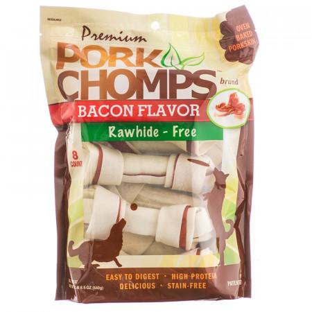 Pork Chomps Bacon Flavor Porkskin Bones - Medium alternate img #1
