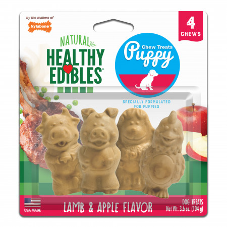 Nylabone Healthy Edibles Natural Puppy Chew Treats - Lamb and Apple Flavor alternate img #1