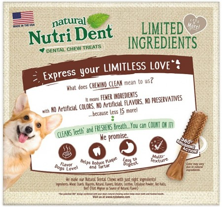 Nylabone Natural Nutri Dent Filet Mignon Limited Ingredients Large Dog Chews alternate img #2