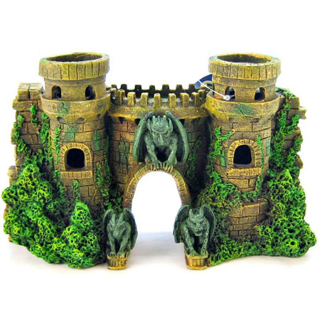 Blue Ribbon Castle Fortress with Gargoyles Ornament alternate img #1