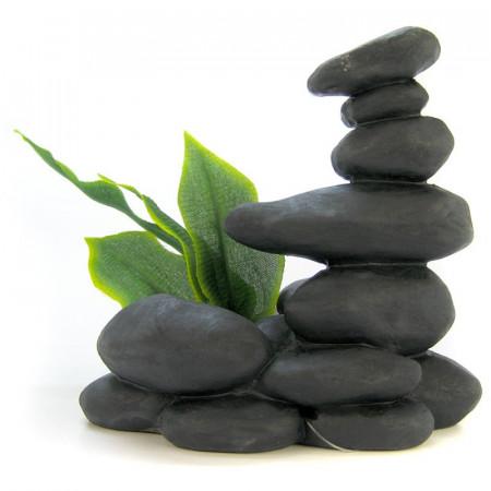 Blue Ribbon Zen Spa Stones with Plant - Black alternate img #1