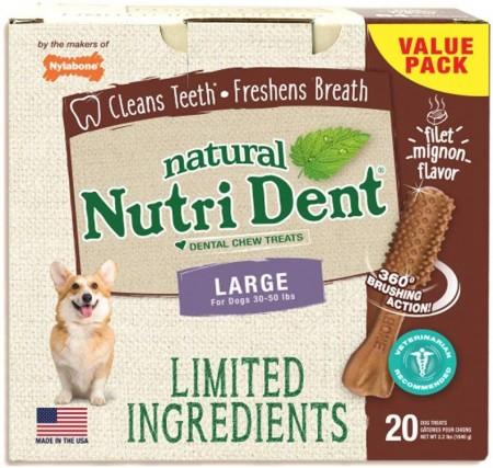 Nylabone Natural Nutri Dent Filet Mignon Limited Ingredients Large Dog Chews alternate img #1