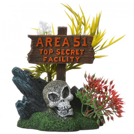 Blue Ribbon Exotic Environments Area 51 Sign with Skull Ornament alternate img #1