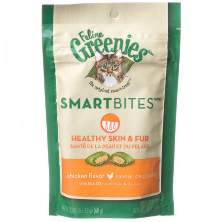 Greenies SmartBites Healthy Skin & Fur Cat Treats - Chicken Flavor alternate img #1