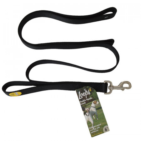 Coastal Pet Loops 2 Double Nylon Handle Leash - Black alternate img #1