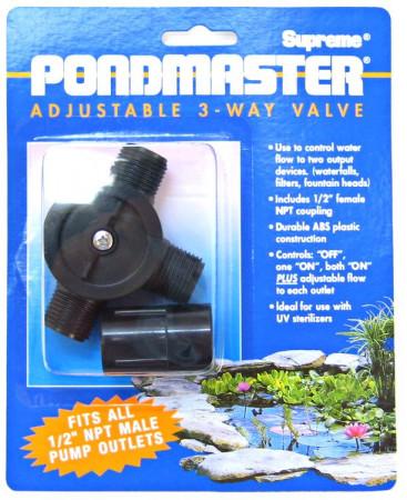 Pondmaster Adjustable 3- Way Flow Diverter Valve alternate img #1