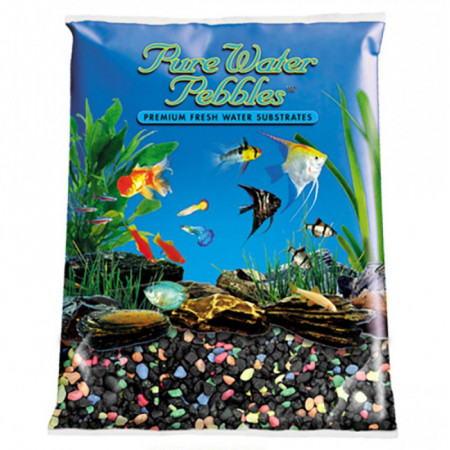Pure Water Pebbles Aquarium Gravel - Black Beauty Pebble Mix alternate img #1