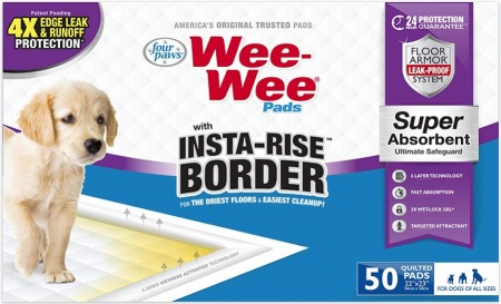 Four Paws Wee Wee Insta Rise Border Quilted Pads - 23 x23 alternate img #1