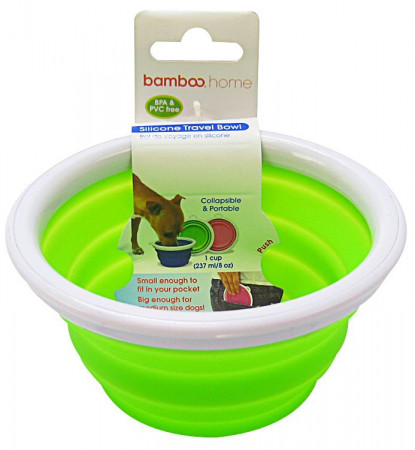 Bamboo Silicone Travel Bowl - Assorted Colors alternate img #1