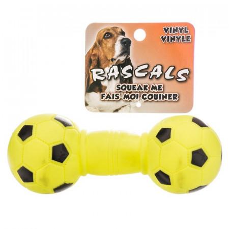 Coastal Pet Rascals Vinyl Soccer Ball Dumbbell Dog Toy - Lime Green alternate img #1