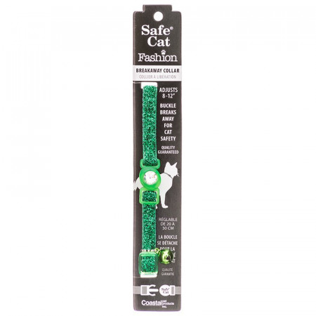 Safe Cat Jeweled Adjustable Breakaway Cat Collar - Green Glitter alternate img #1