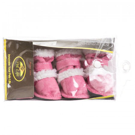 Pet Life Shearling Duggz Dog Boots - Pink alternate img #1