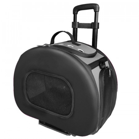 Pet Life Wheeled Tough-Shell Collapsible Pet Carrier - Black alternate img #1