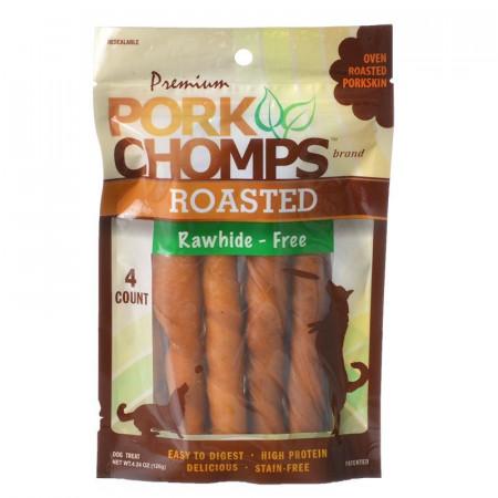 Pork Chomps Premium Roasted Rawhide-Free Porkskin Twists - Large alternate img #1