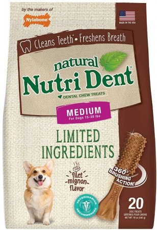 Nylabone Natural Nutri Dent Filet Mignon Limited Ingredients Medium Dog Chews alternate img #1