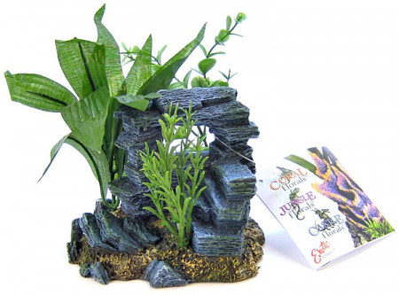 Blue Ribbon Rock Arch with Plants Aquarium Ornament alternate img #1
