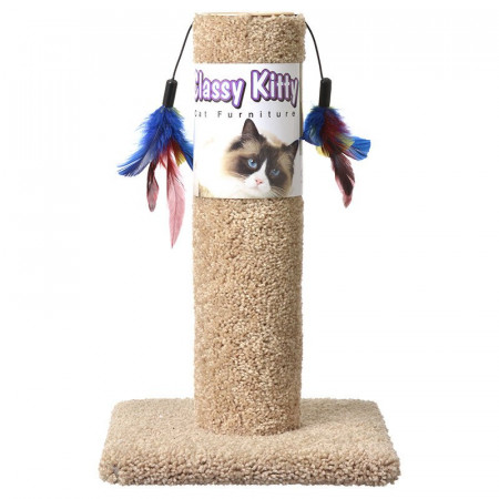 North American Classy Kitty Cat Scratching Post with Feathers alternate img #1