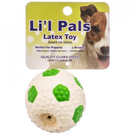 Lil Pals Latex Mini Soccer Ball for Dogs - Green & White alternate img #1