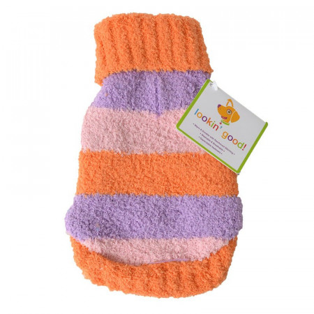 Fashion Pet Lookin Good Striped Dog Sweater - Orange alternate img #1